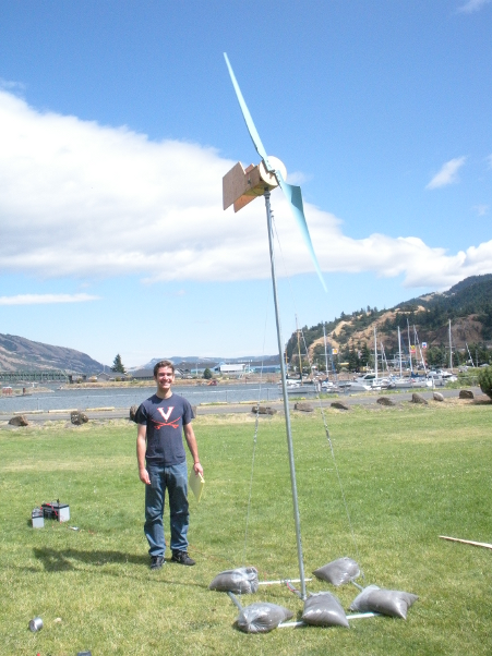 Me standing in front of a two-bladed turbine being testing near Hood River, Oregon